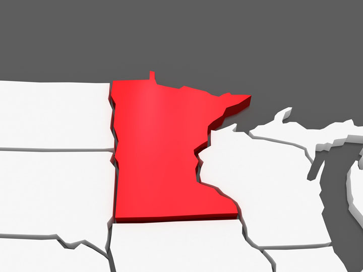 3d Minnesota map