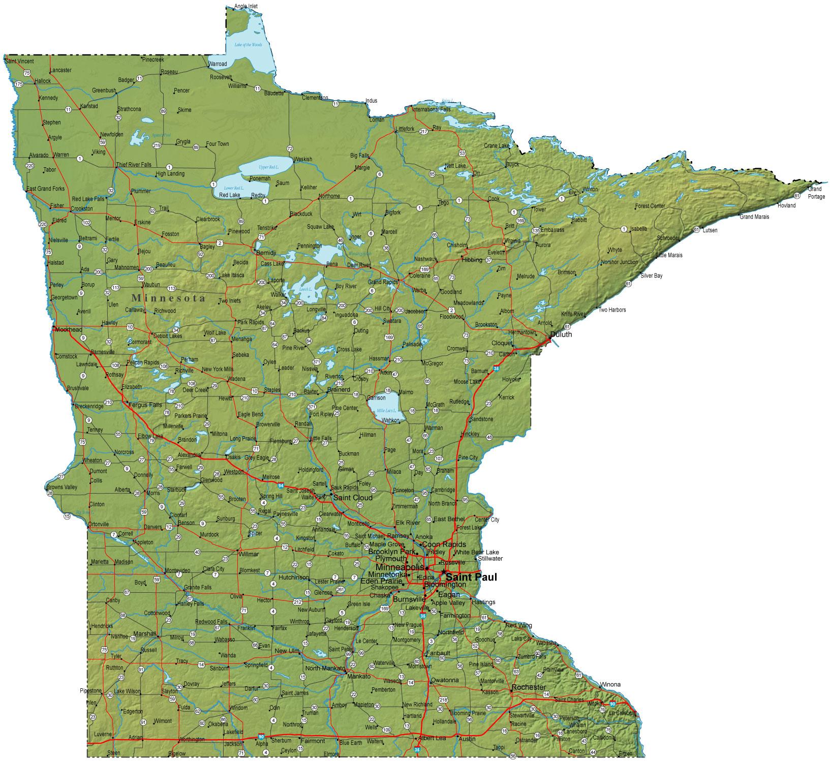 Detailed Minnesota Map  MN Terrain Map